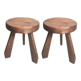 "Charlotte Perriand Les Arcs ""Sandoz"" Pair of Pine Stools For Sale"