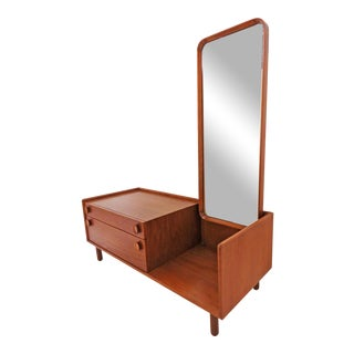 Danish Teak Entry / Hall Table With Mirror, Circa 1960s For Sale