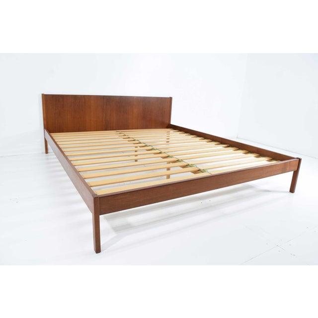 "Danish Modern Teak Oversized Queen Bed Frame, 69.5"" Wide For Sale In Dallas - Image 6 of 10"