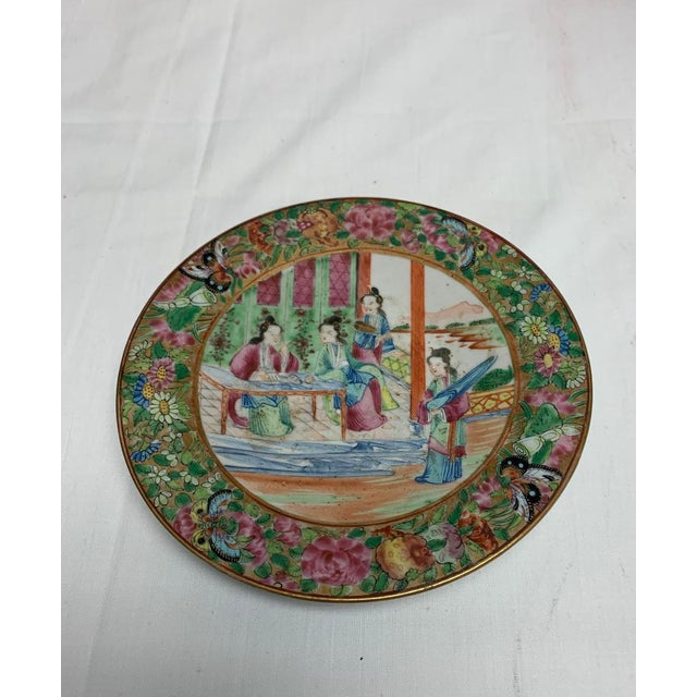 Ceramic Antique Chinese Export Rose Mandarin Footed Dish For Sale - Image 7 of 7