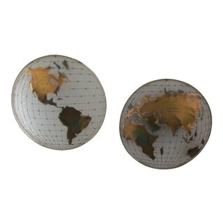 1980s Hollywood Regency Curtis Jere Globe Wall Mount Sculpture - 2 Pieces For Sale