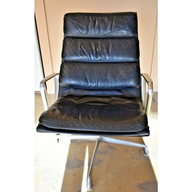Mid Century Eames Herman Miller Lounge Chairs Black Leather- A Pair For Sale - Image 6 of 13