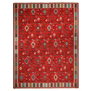 """1920's Antique Geometric Red and Beige Wool Kilim Rug-9'10'x12'9"""" For Sale"""