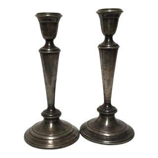 1970s Gorham Silver Plated Candlesticks in the Newport Pattern - a Pair For Sale