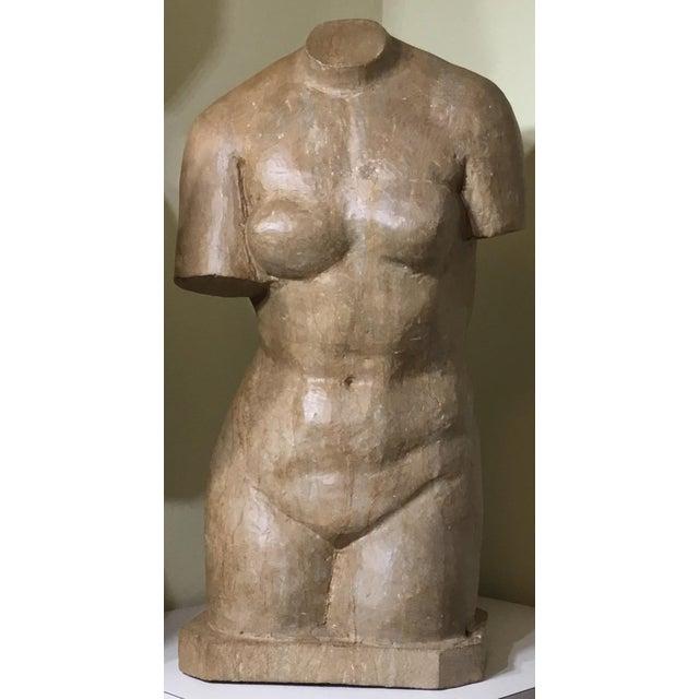 Vintage Marble Female Torso Statue For Sale - Image 10 of 11