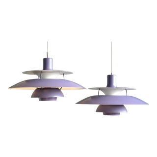 Poul Henningsen for Louis Poulsen Purple Model PH-5 Pendant Lamps - a Pair
