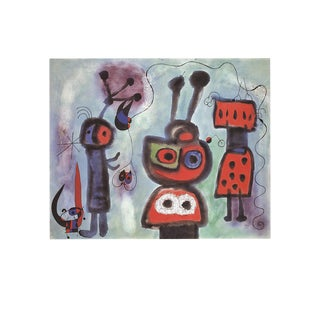 1995 Joan Miro 'L'Oiseau Au Regard' Surrealism Red,Multicolor,Blue,Black Germany Offset Lithograph For Sale