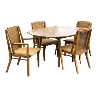 1960s Mid-Century Drexel Dining Room Table Set, 5 Pieces For Sale