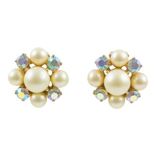 Elsa Schiaparelli 1960s Clip-On Earrings Pearl Imitation & Borealis Rhinestones For Sale