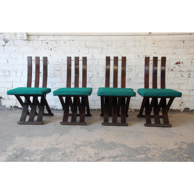 Green Harvey Probber Mid-Century Modern X-Base Dining Chairs - Set of 4 For Sale - Image 8 of 11