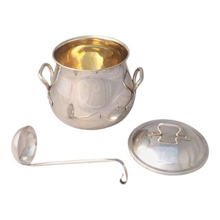 French Silver Bowl or Tureen with Lid and Ladle For Sale