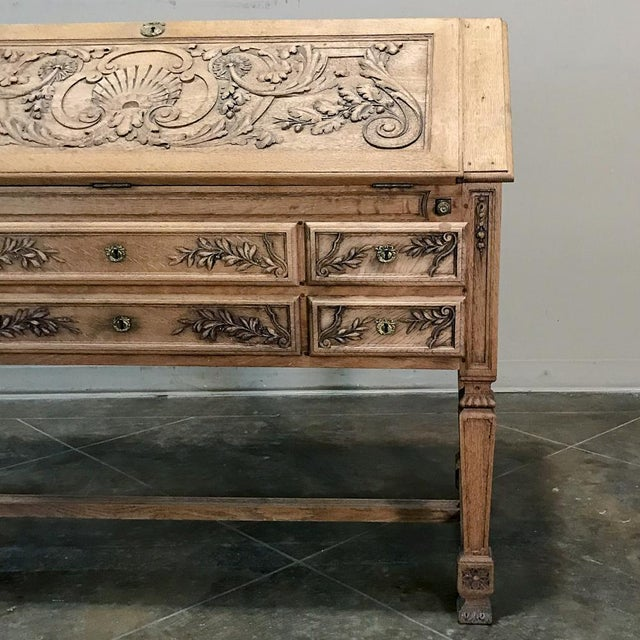 Brown 19th Century French Louis XIV Stripped Oak Secretary For Sale - Image 8 of 11
