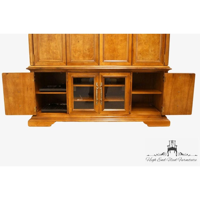 "Stanley Furniture Contemporary Oak and Burled Walnut 72"" Media Tv Console Cabinet For Sale In Kansas City - Image 6 of 12"