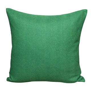 FirmaMenta Eco-Friendly Green Herringbone Wool Pillow For Sale