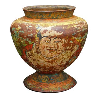 Antique Tibetan Wood Jar/Urn With Lacquer Design of Buddha and Deer For Sale