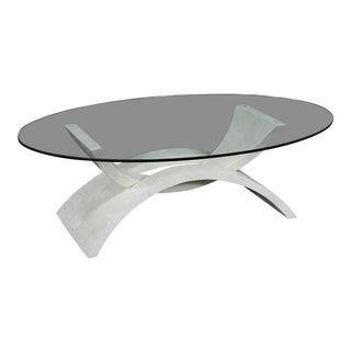"""1990s Contemporary Freeform White Tessellated Stone """"Mystique"""" Coffee Table For Sale"""