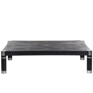 Karl Springer Embossed Crocodile Print Leather and Chrome Coffee Cocktail Table For Sale