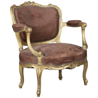 Antique French Louis XV Carved Giltwood Large Fauteuil 'Chair-And-A-Half' For Sale