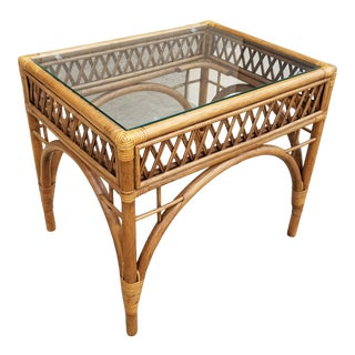 Vintage Rattan Bamboo and Glass Table For Sale