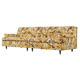 Yellow Mid Century Modern Two-Piece Sofa Sectional Couch For Sale