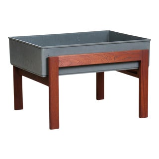 1960s Danish Modern Teak Planter With Floating Tray For Sale