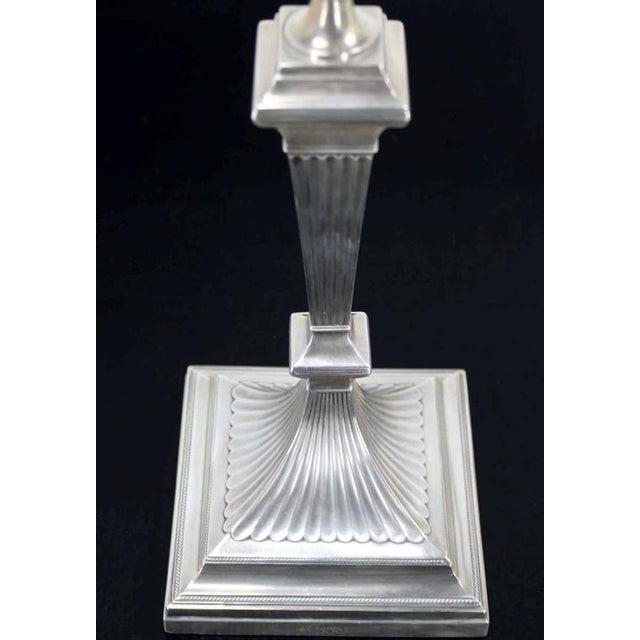 Early 20th Century Pair of Square Base Art Deco Sterling Candle Sticks For Sale - Image 5 of 8