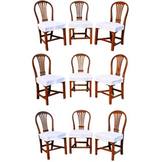 Assembled Set of Nine George III Mahogany Dining Chairs For Sale