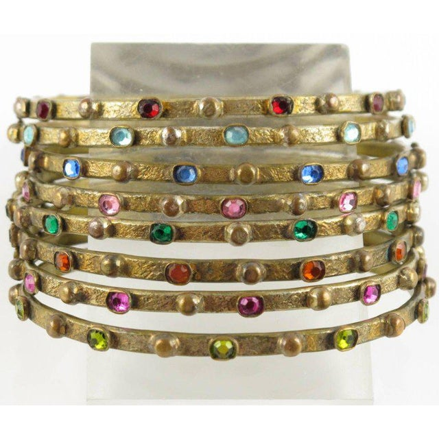 French Henry Perichon Gilt Bronze Bracelet Bangle Spacer 8 Pieces With Stones For Sale - Image 4 of 8