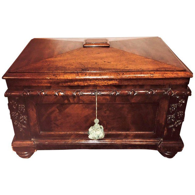 19th Century Rosewood Rococo Carved Dowry Chest Lead Lined For Sale - Image 13 of 13