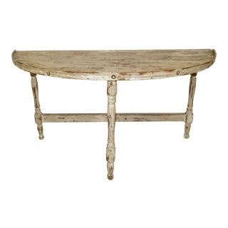 Painted Gustavian Low Demilune Table For Sale