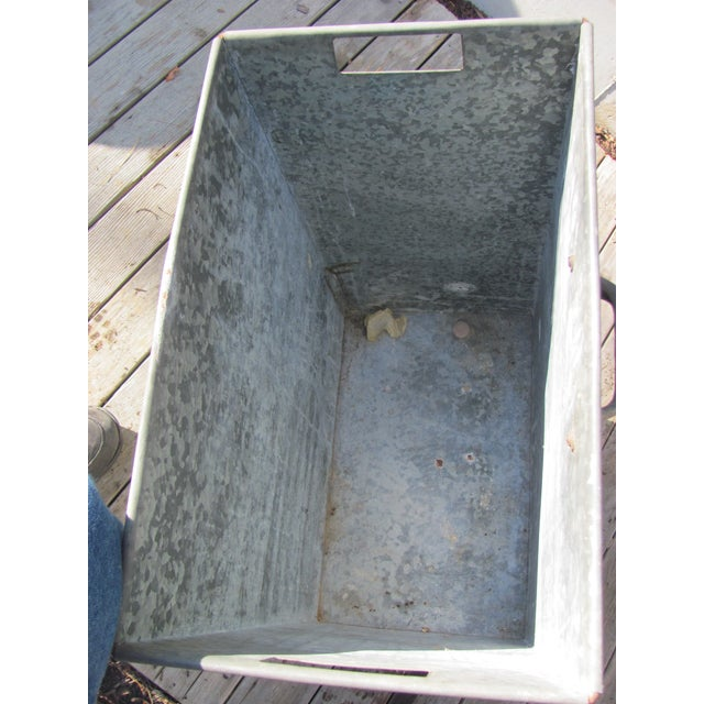 1940s Industrial Style Galvanized Steel Waste Basket For Sale - Image 5 of 13