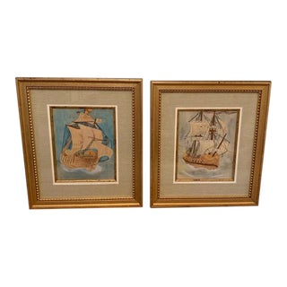 Signed Ship Watercolor Paintings in Gilt Frames - A Pair For Sale