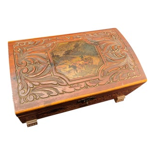 Vintage Wooden Jewelry Box Hand Carved Trinket Box For Sale