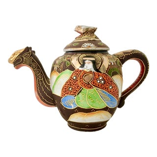 Antique Japanese Hand-Painted Porcelain Satsuma Moriage Dragon Tea Pot For Sale