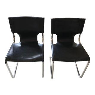 Italian Mid Century Modern Chrome and Leather Chairs - a Pair