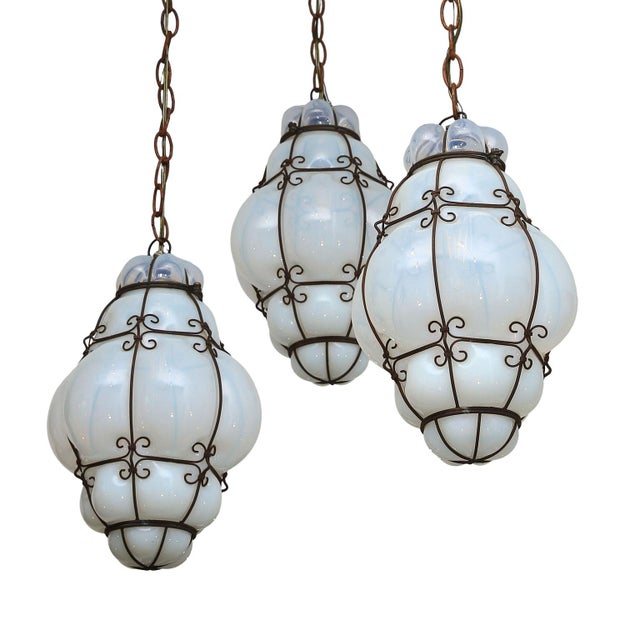 White Three Caged Glass Italian Pendants For Sale - Image 8 of 13