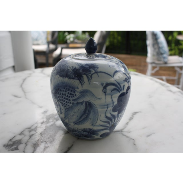 Vintage Blue and White Decorative Ginger Jar with Lid For Sale - Image 5 of 7