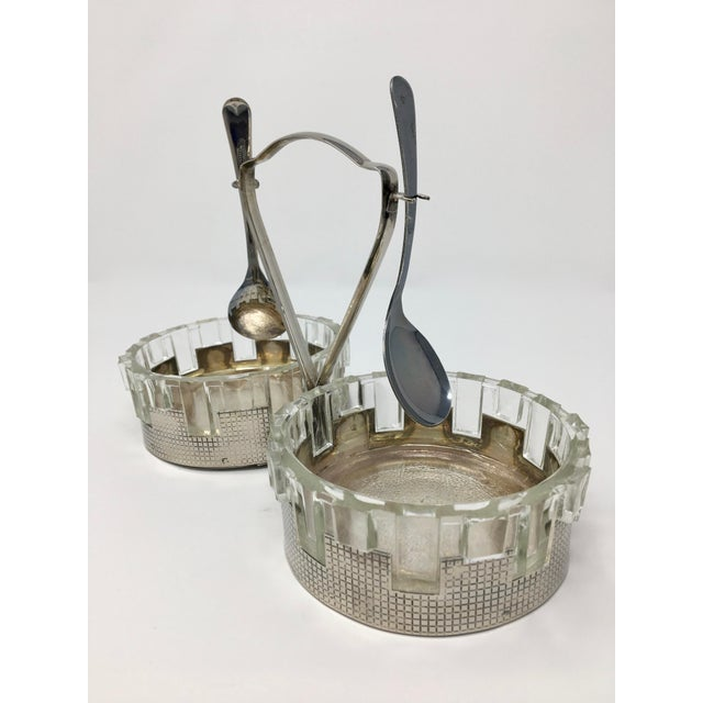 1930s Art Deco Silver Plated Double Candy Dish For Sale - Image 5 of 9
