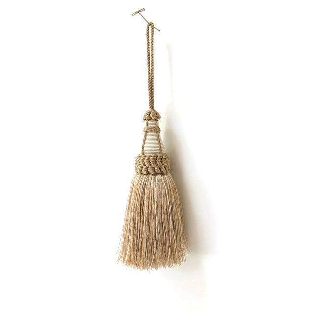 Tan and White Key Tassel With Looped Ruche Trim For Sale - Image 10 of 10
