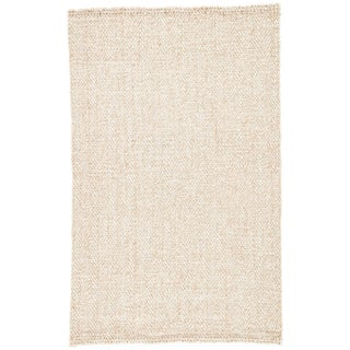 Jaipur Living Haxel Handmade Chevron White/ Beige Area Rug - 8′ × 10′ For Sale