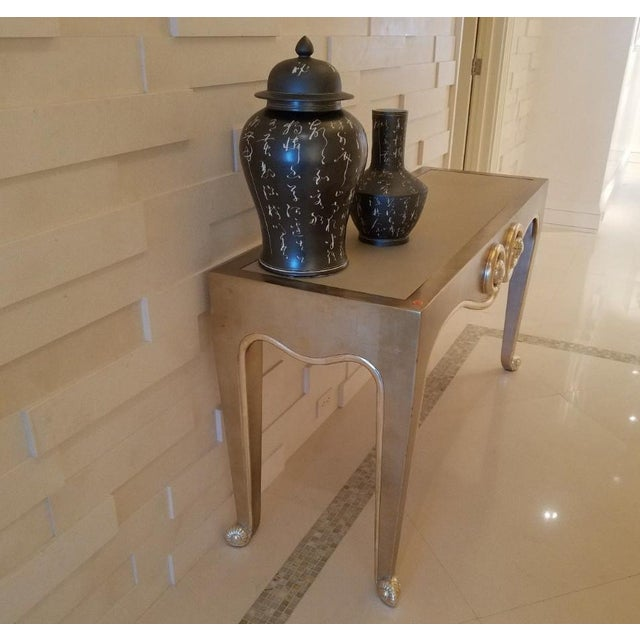 Contemporary J. Robert Scott Sally Sirkin Lewis Silver Leaf Console Table For Sale - Image 3 of 11