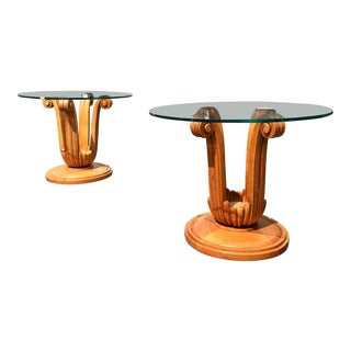 Italian Colombostile Carved Wood & Glass Side Tables - A Pair