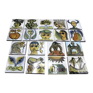 Vintage Mid Century Hand Painted Greek Picasso Style Tiles - Set of 18 For Sale