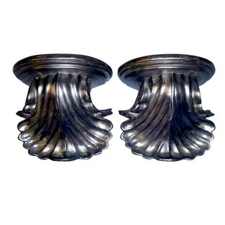 1970s Vintage Neoclassical Style Silver Fluted Resin Acanthus Leaf Bookends- A Pair For Sale