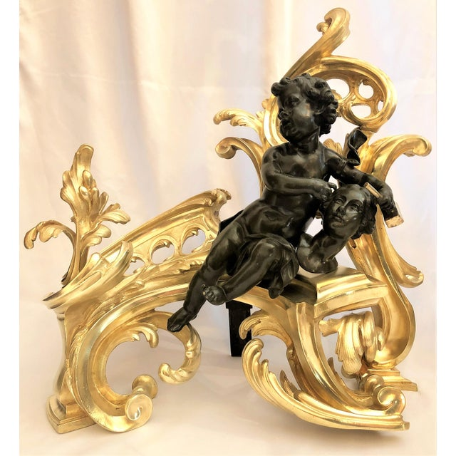 "Pair Antique French Louis XV Bronze ""Literature & Arts"" Chenets, Circa 1880."