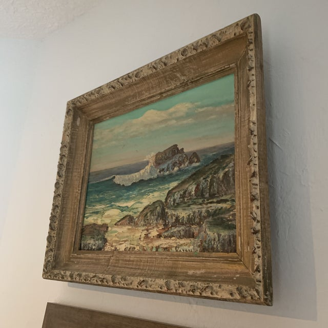 Framed Rocky Beach Seascape Oil Painting, Signed For Sale - Image 4 of 12