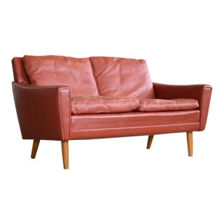 Kurt Ostervig Attributed Love Seat or Settee in Red Leather Denmark 1960s