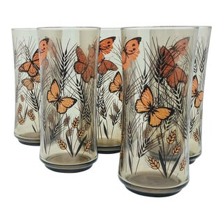 Vintage Monarch Butterfly Libbey Glass Tumblers - Set of 5 For Sale