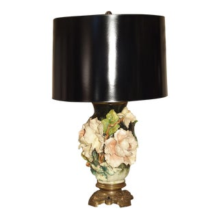 Antique Gros Relief French Barbotine Lamp, Circa 1880 For Sale