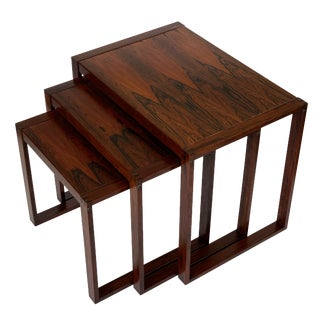 1960s Danish Rosewood Nesting Tables - Set of 3 For Sale